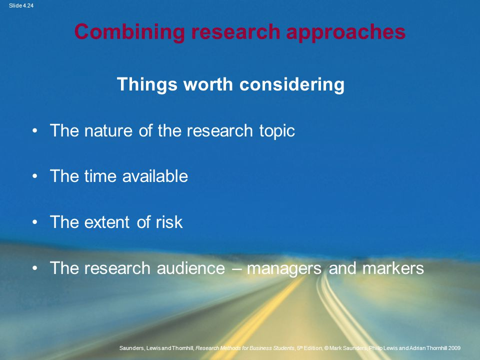 Combining research approaches
