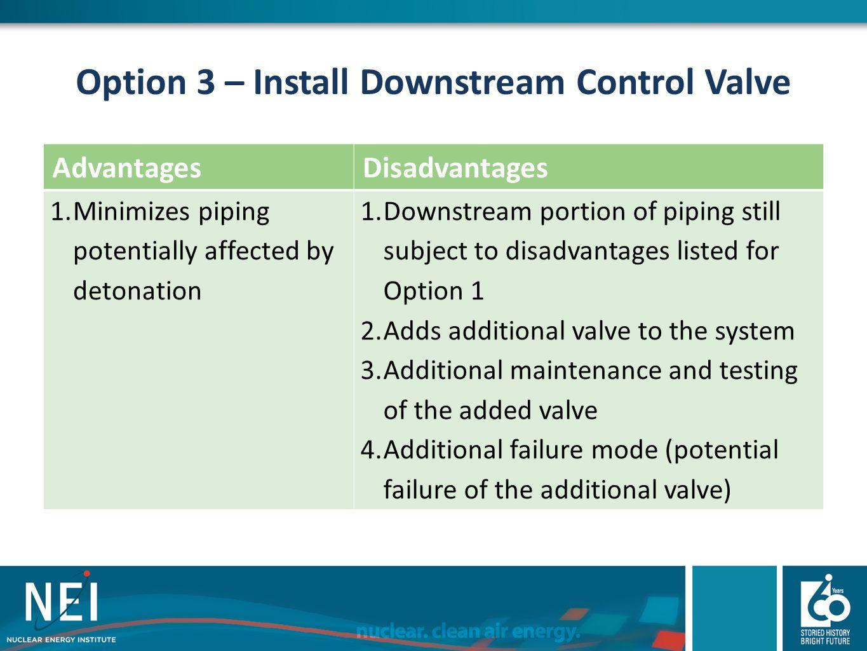 Option 3 – Install Downstream Control Valve