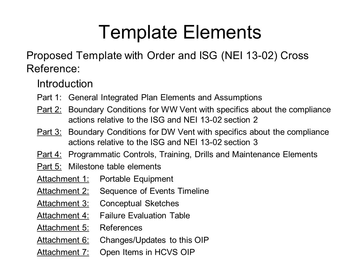 Template Elements Proposed Template with Order and ISG (NEI 13-02) Cross Reference: Introduction.