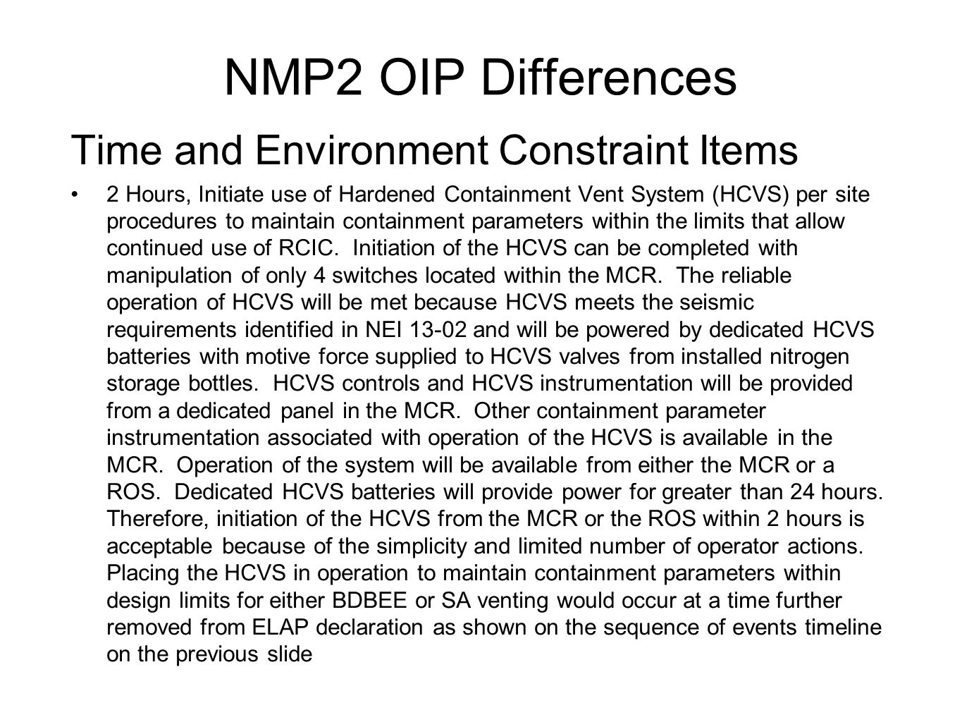 NMP2 OIP Differences Time and Environment Constraint Items