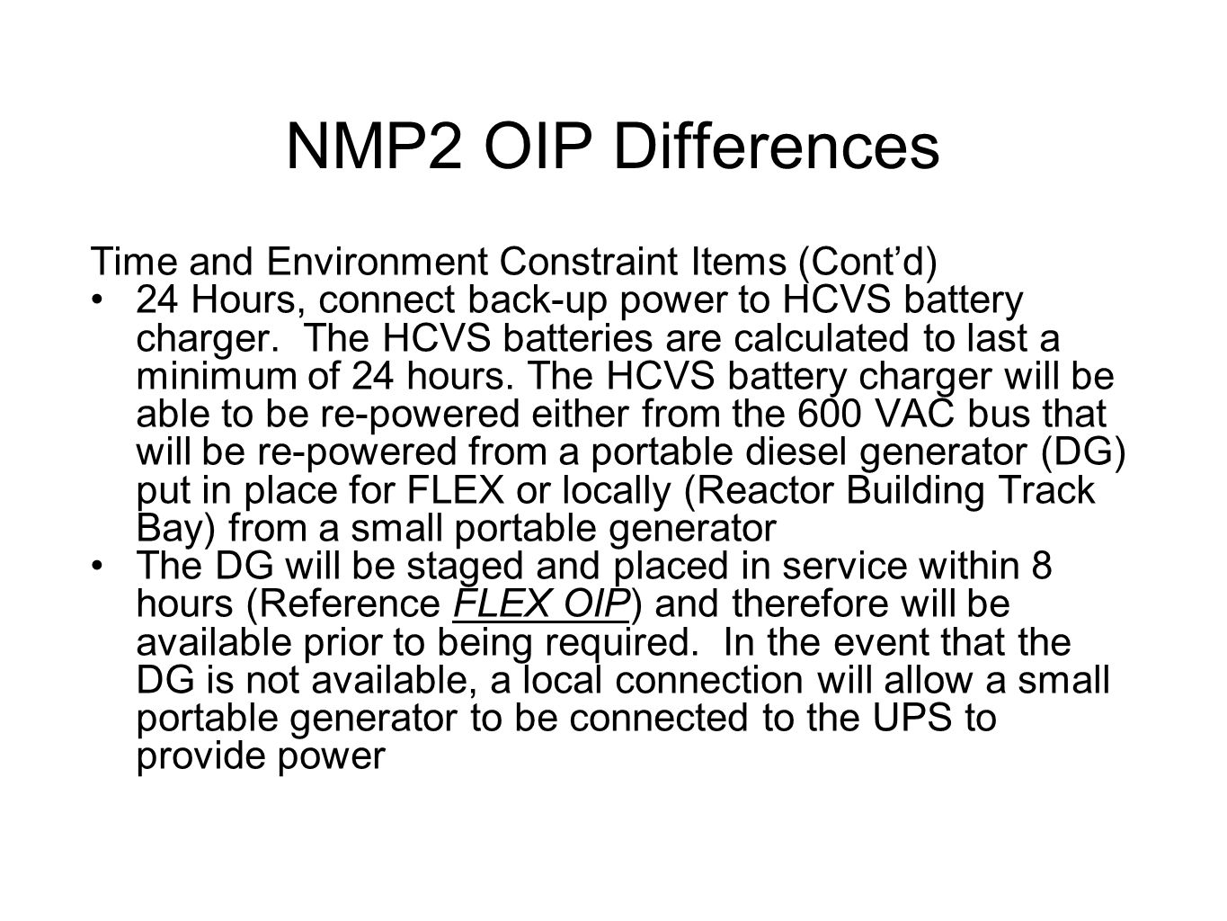 NMP2 OIP Differences Time and Environment Constraint Items (Cont'd)