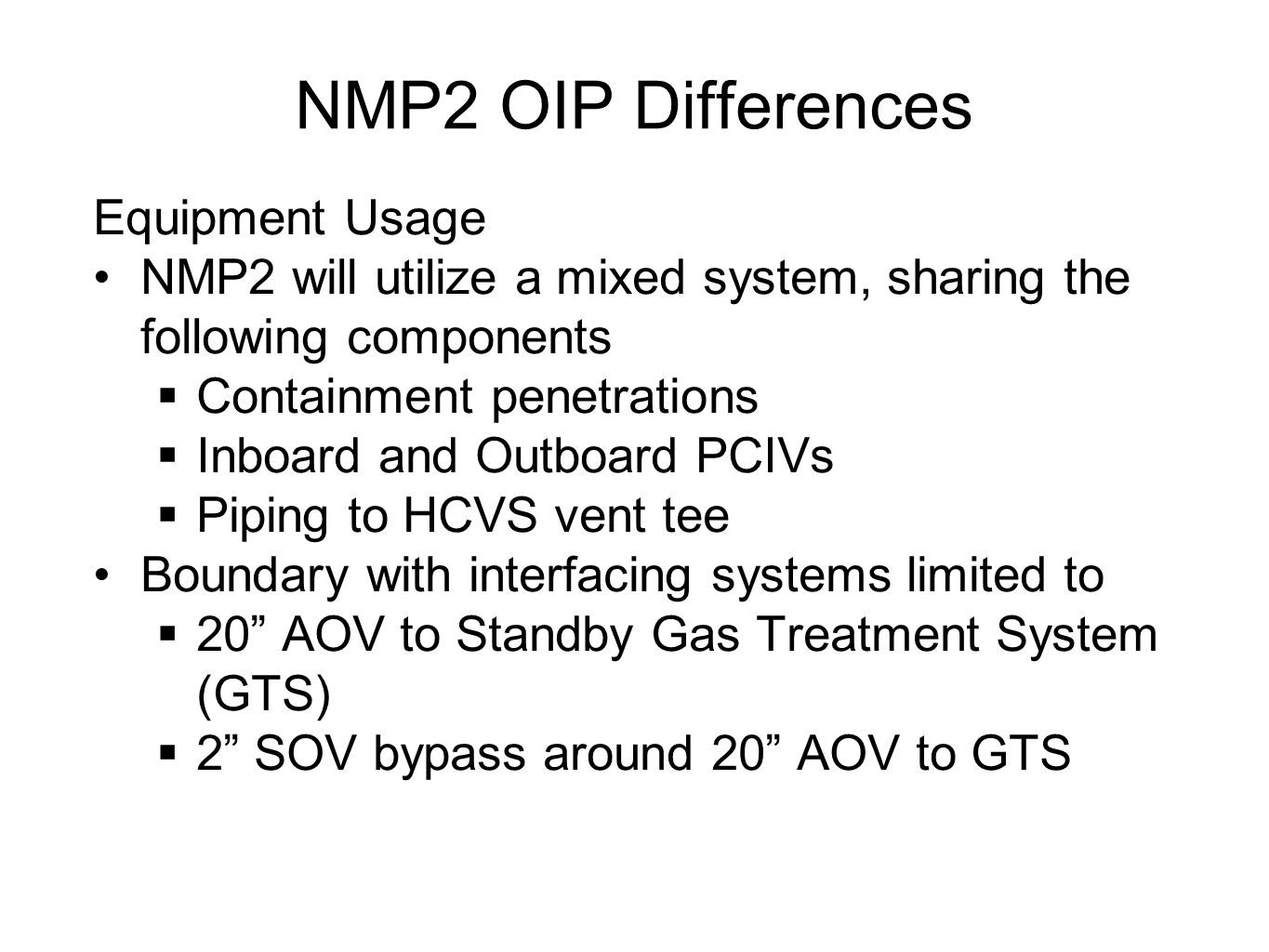 NMP2 OIP Differences Equipment Usage