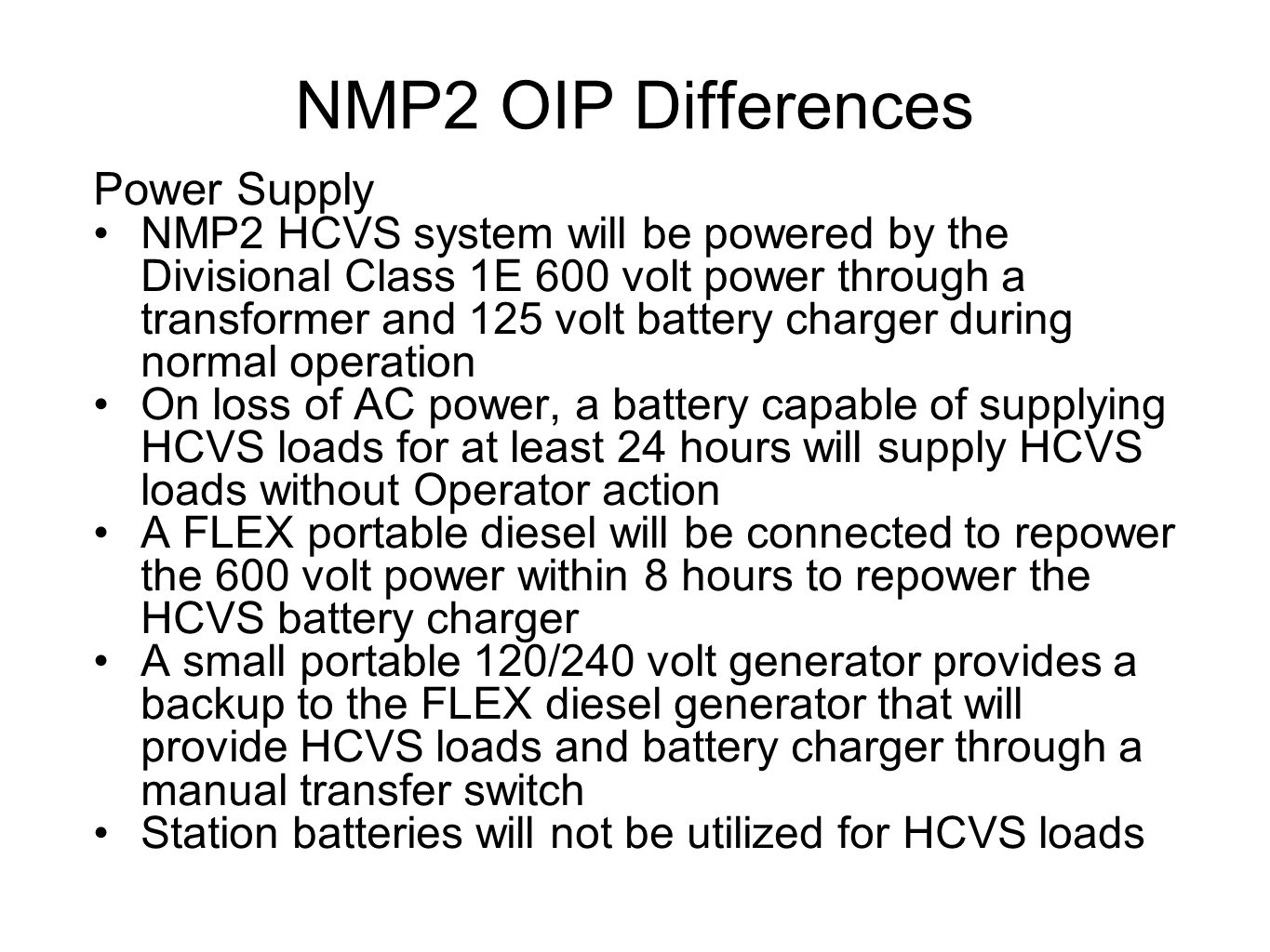 NMP2 OIP Differences Power Supply