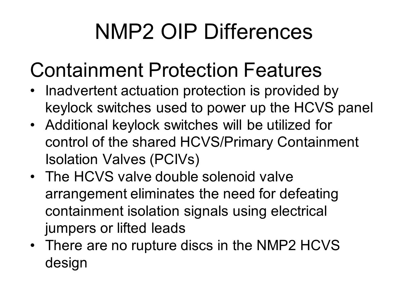 NMP2 OIP Differences Containment Protection Features