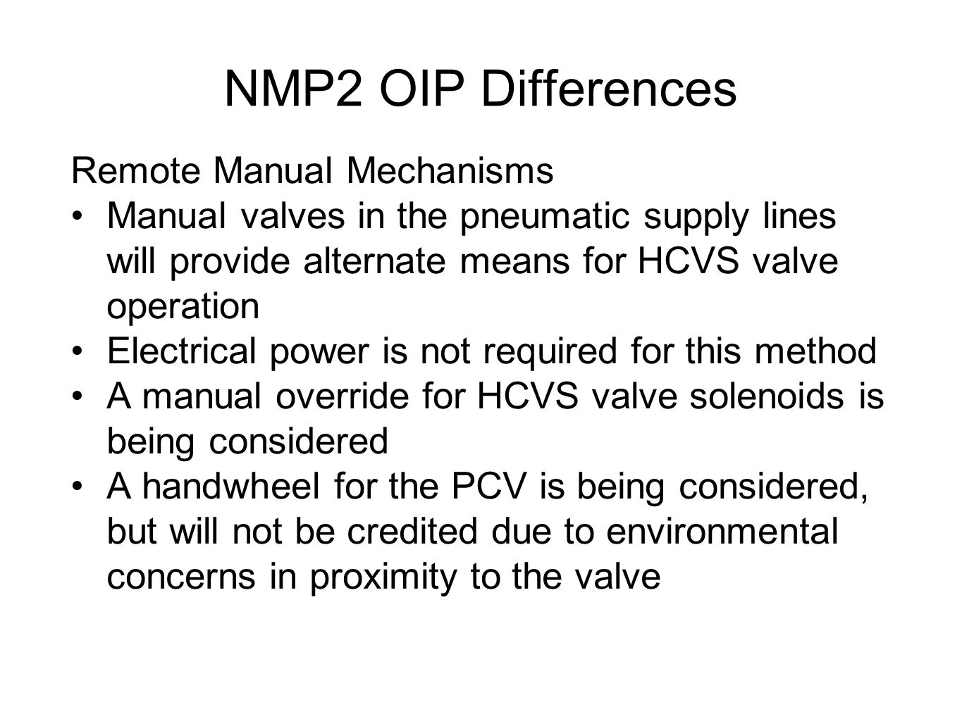 NMP2 OIP Differences Remote Manual Mechanisms