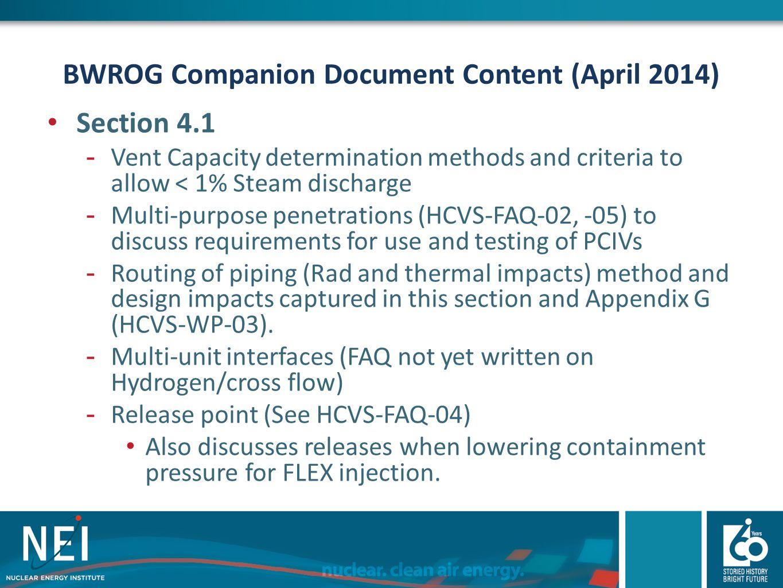 BWROG Companion Document Content (April 2014)