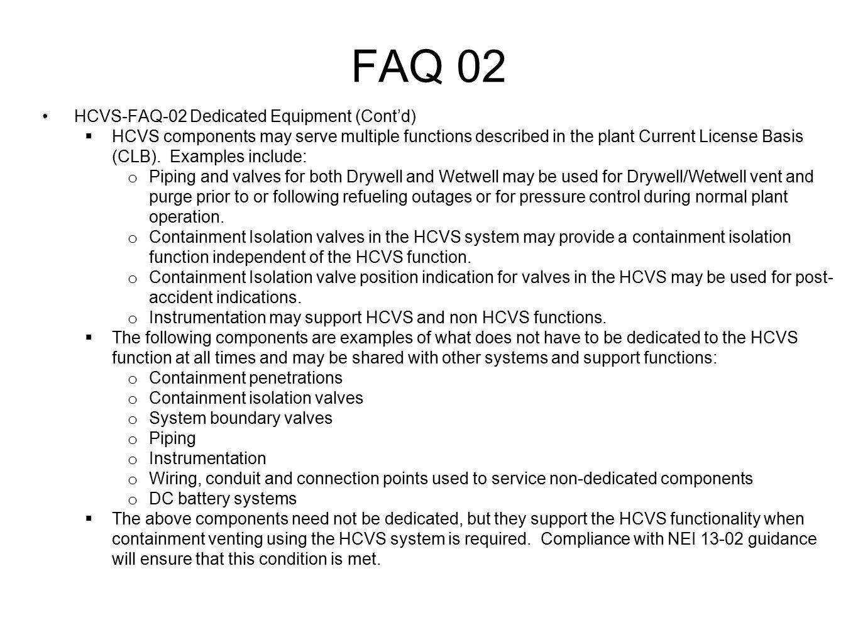 FAQ 02 HCVS-FAQ-02 Dedicated Equipment (Cont'd)