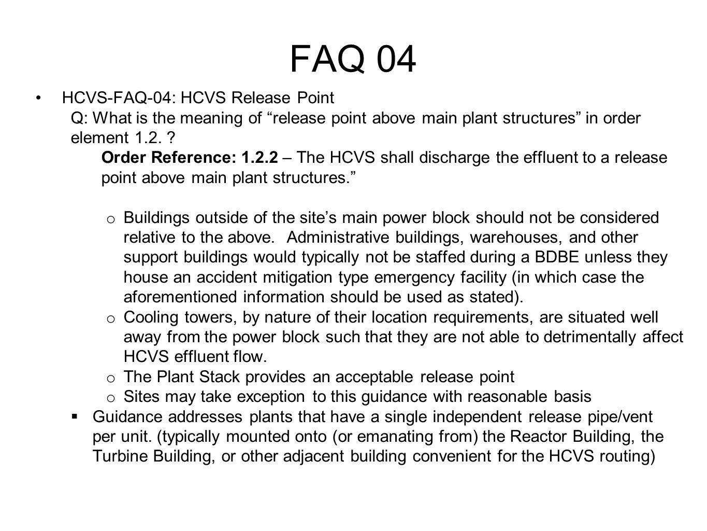 FAQ 04 HCVS-FAQ-04: HCVS Release Point