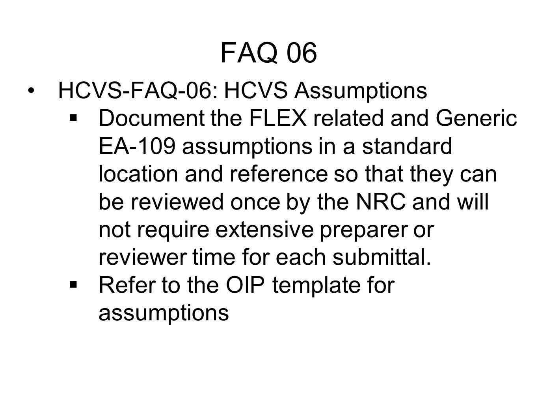 FAQ 06 HCVS-FAQ-06: HCVS Assumptions