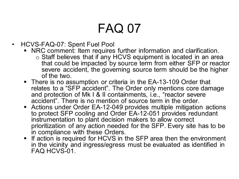 FAQ 07 HCVS-FAQ-07: Spent Fuel Pool