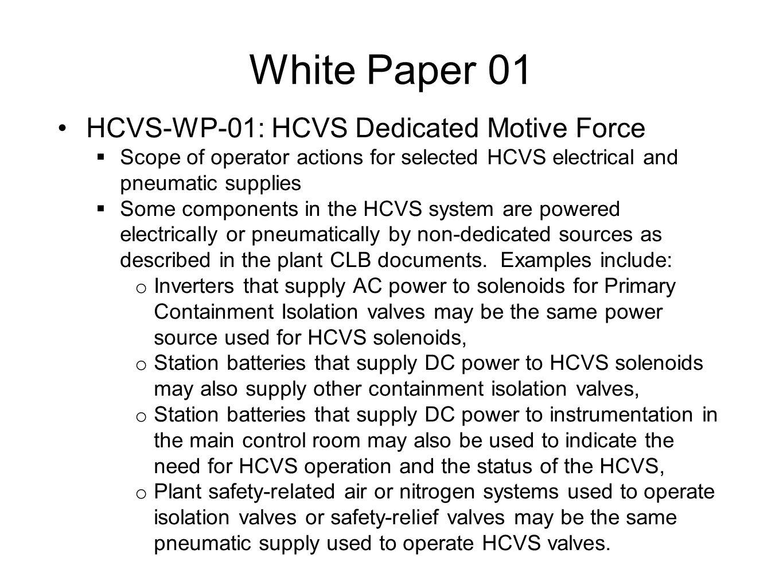 White Paper 01 HCVS-WP-01: HCVS Dedicated Motive Force