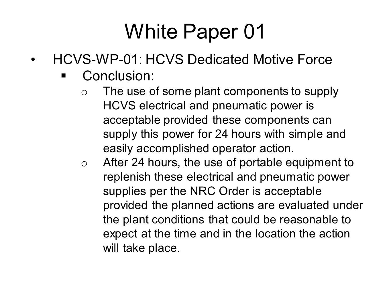 White Paper 01 HCVS-WP-01: HCVS Dedicated Motive Force Conclusion: