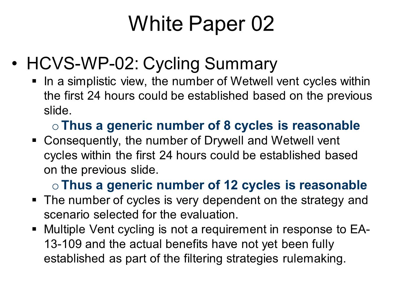 White Paper 02 HCVS-WP-02: Cycling Summary