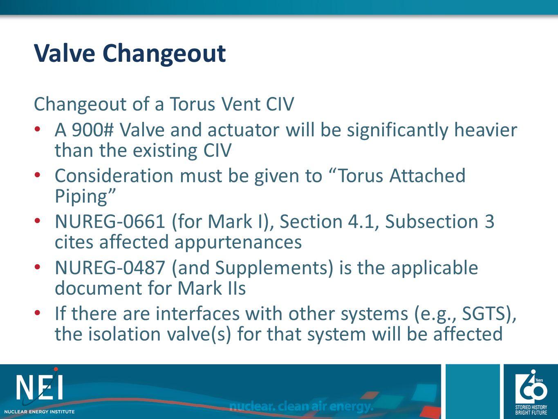 Valve Changeout Changeout of a Torus Vent CIV