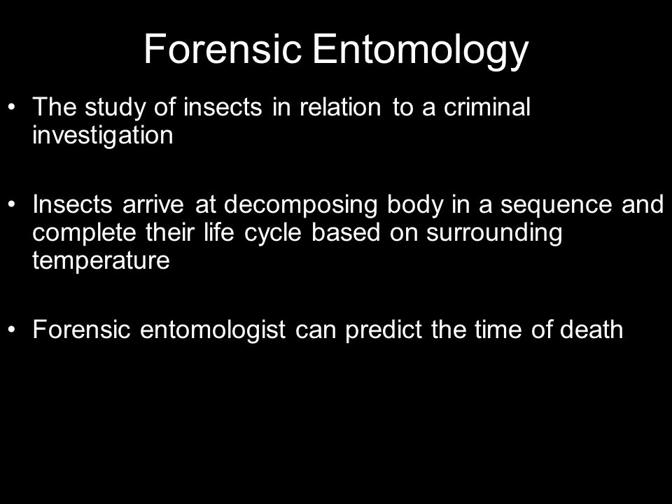Forensic Entomology The study of insects in relation to a criminal investigation.