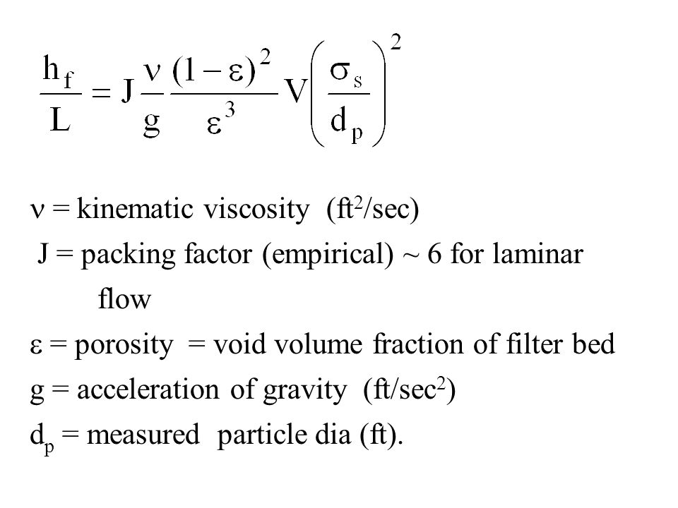 n = kinematic viscosity (ft2/sec)