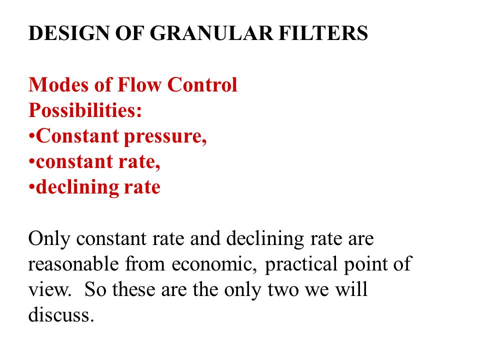 DESIGN OF GRANULAR FILTERS