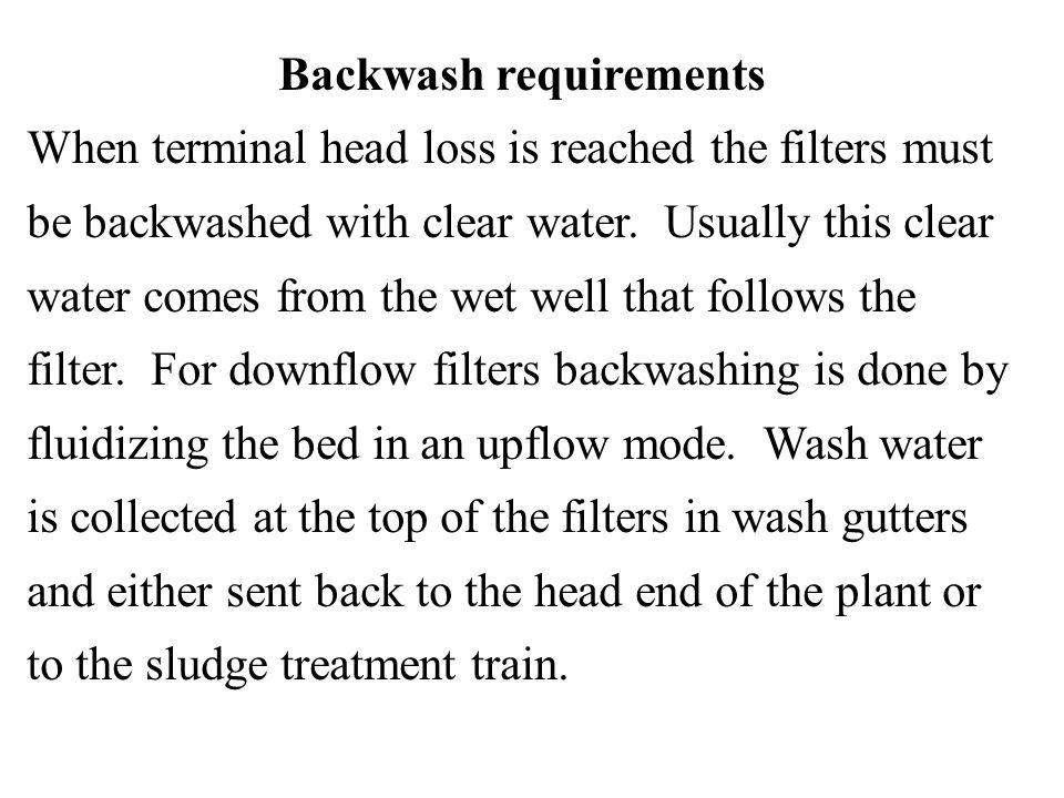 Backwash requirements