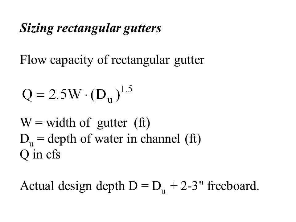 Sizing rectangular gutters