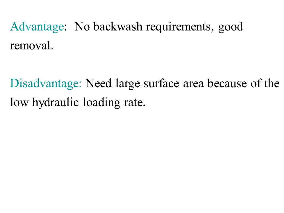 Advantage: No backwash requirements, good removal.