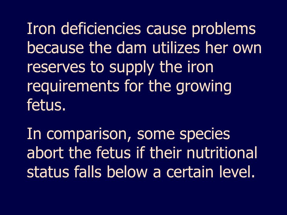 Iron deficiencies cause problems because the dam utilizes her own reserves to supply the iron requirements for the growing fetus.