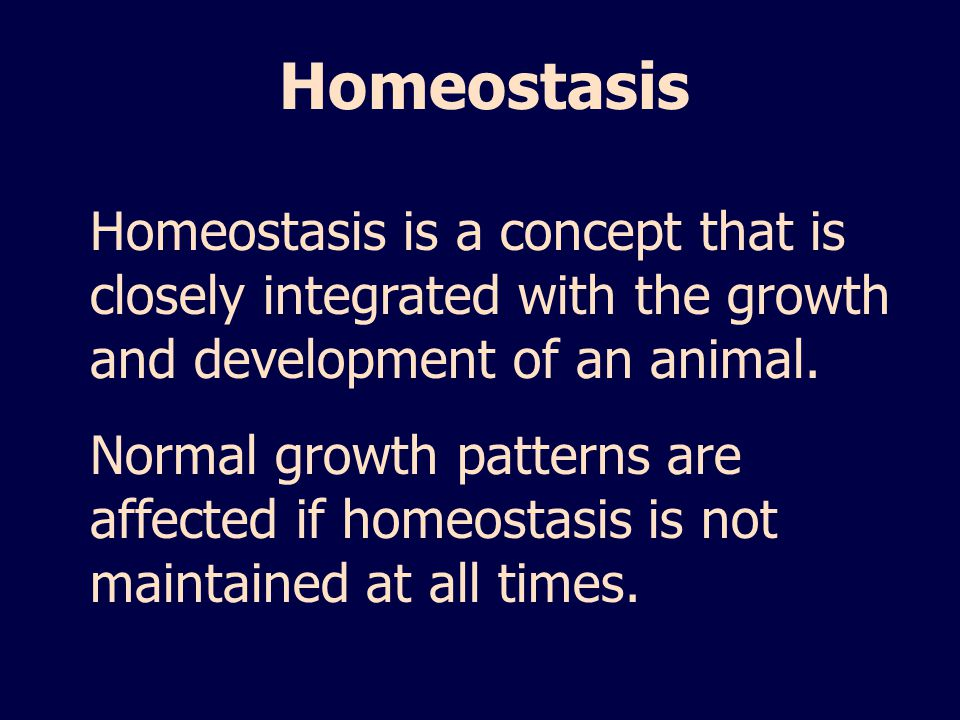 Homeostasis Homeostasis is a concept that is closely integrated with the growth and development of an animal.