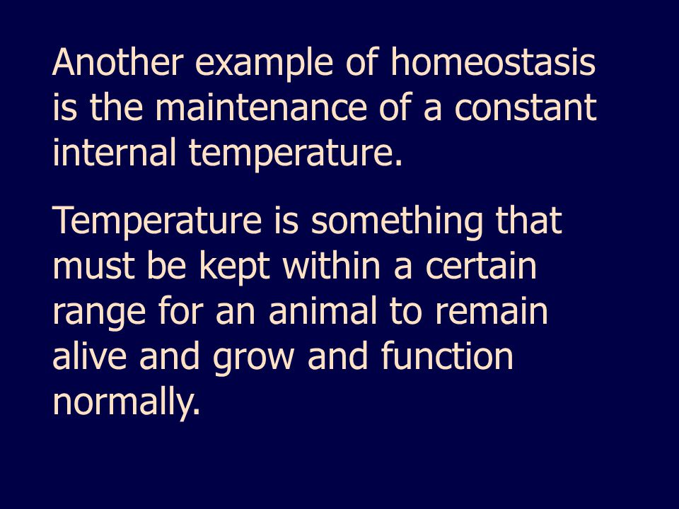 Another example of homeostasis is the maintenance of a constant internal temperature.