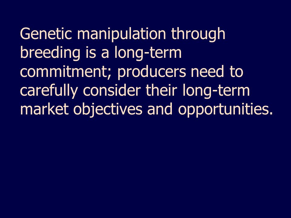 Genetic manipulation through breeding is a long-term commitment; producers need to carefully consider their long-term market objectives and opportunities.