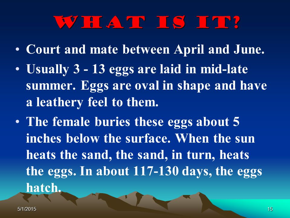 What is It Court and mate between April and June.