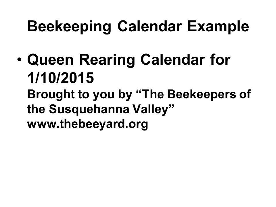 Beekeeping Calendar Example