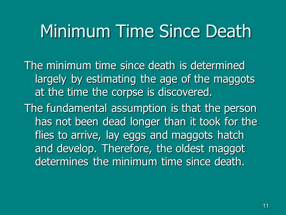 Minimum Time Since Death