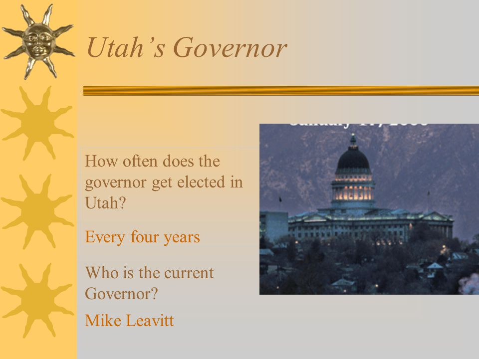 Utah's Governor How often does the governor get elected in Utah