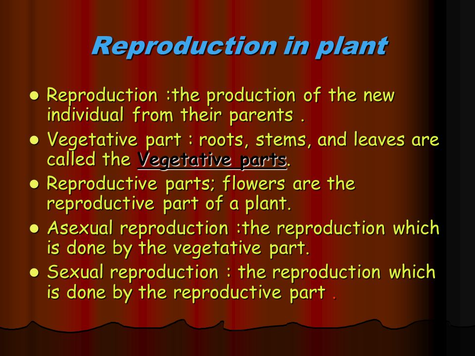 Reproduction in plant Reproduction :the production of the new individual from their parents .