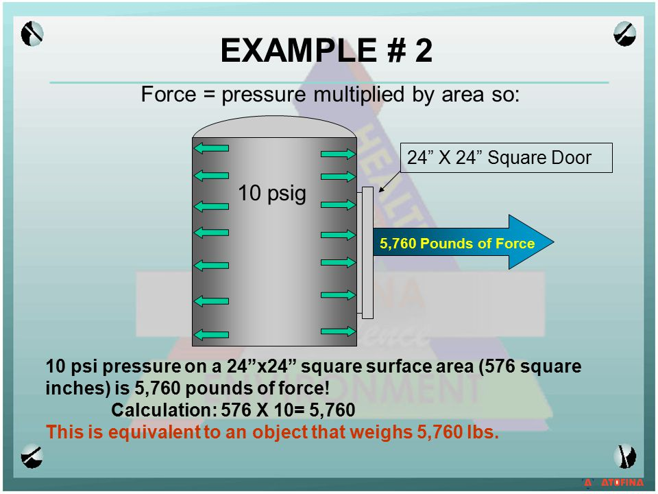 EXAMPLE # 2 Force = pressure multiplied by area so: 10 psig