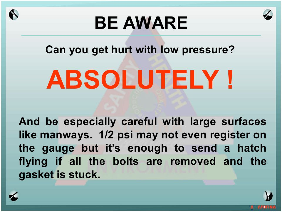 Can you get hurt with low pressure