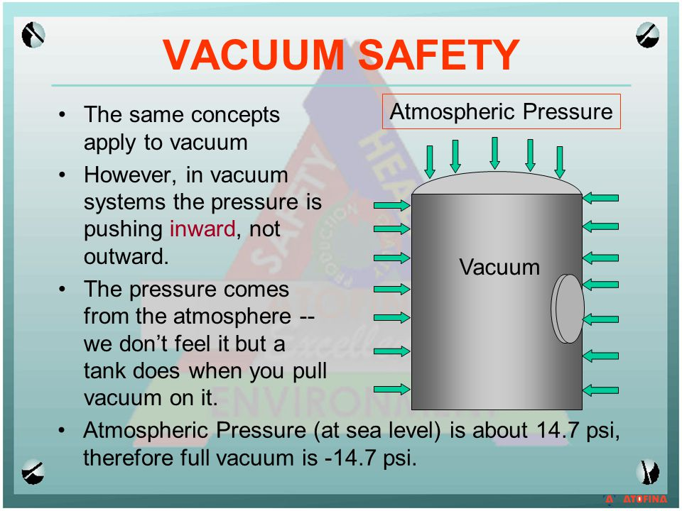 VACUUM SAFETY Atmospheric Pressure The same concepts apply to vacuum