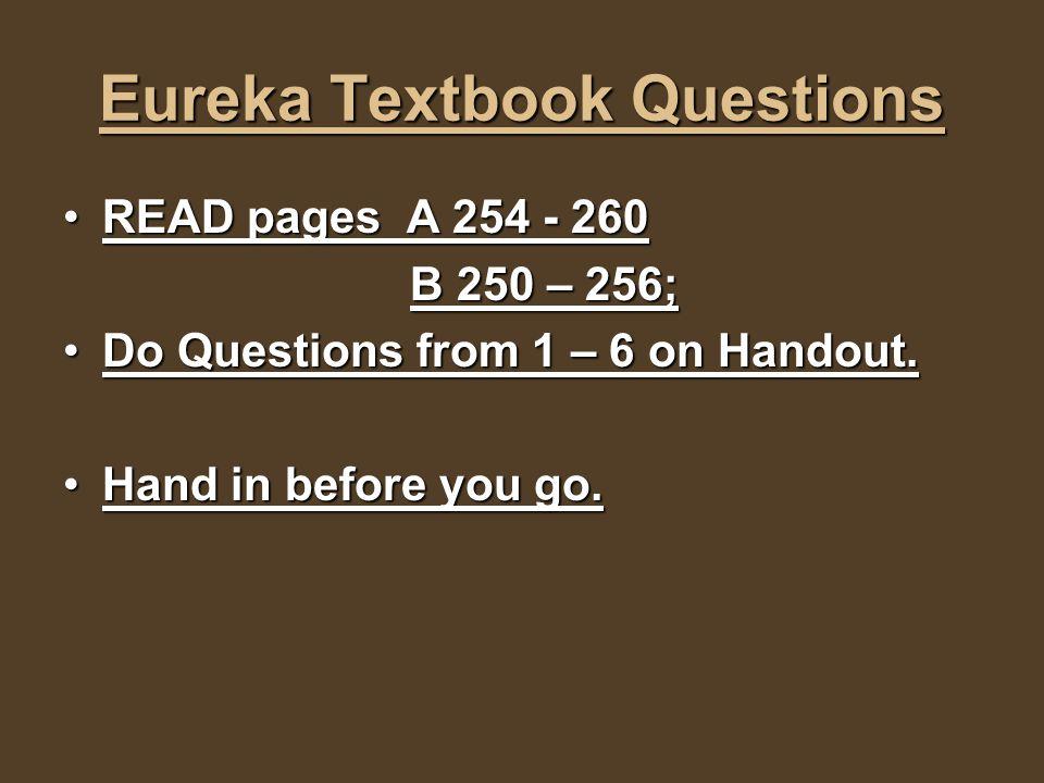 Eureka Textbook Questions