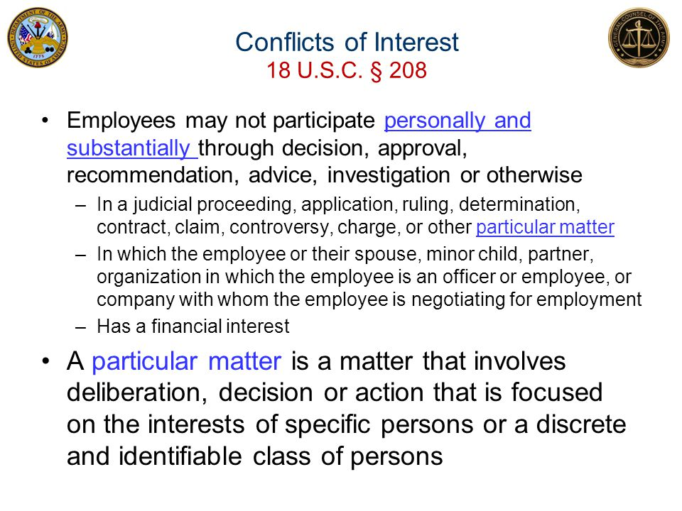 Conflicts of Interest 18 U.S.C. § 208