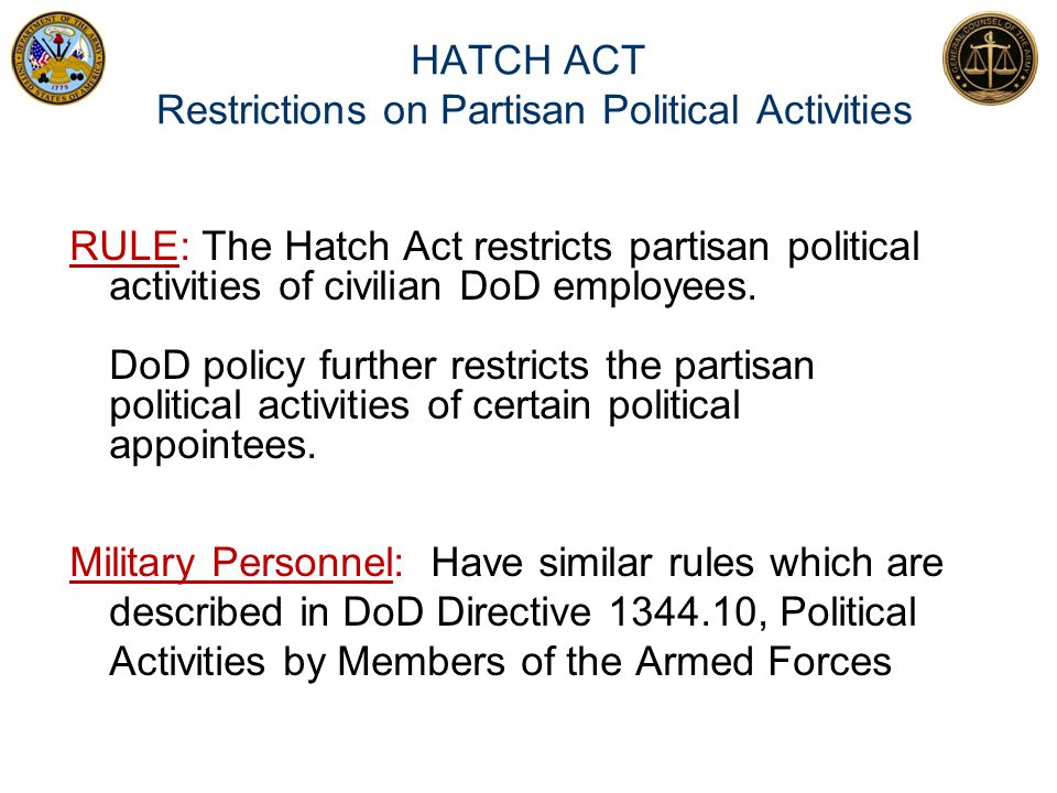 HATCH ACT Restrictions on Partisan Political Activities