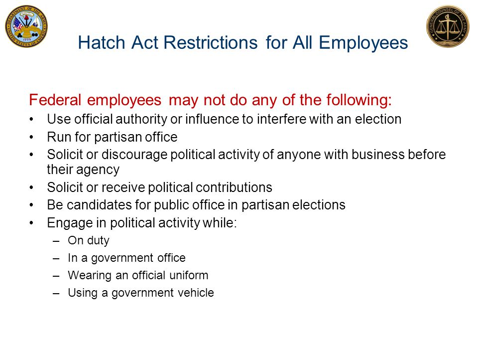 Hatch Act Restrictions for All Employees