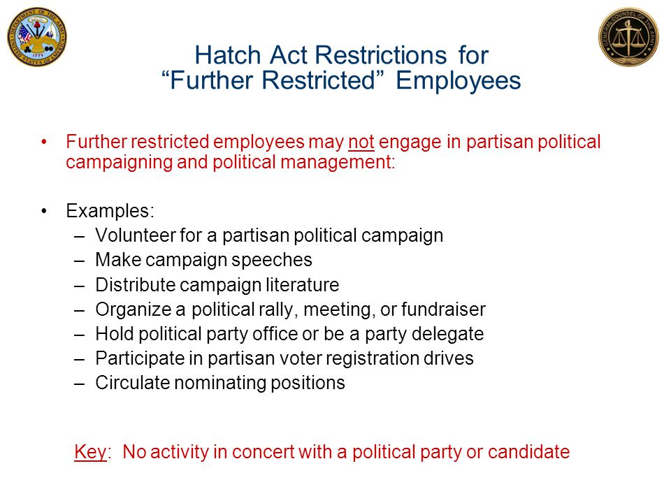 Hatch Act Restrictions for Further Restricted Employees