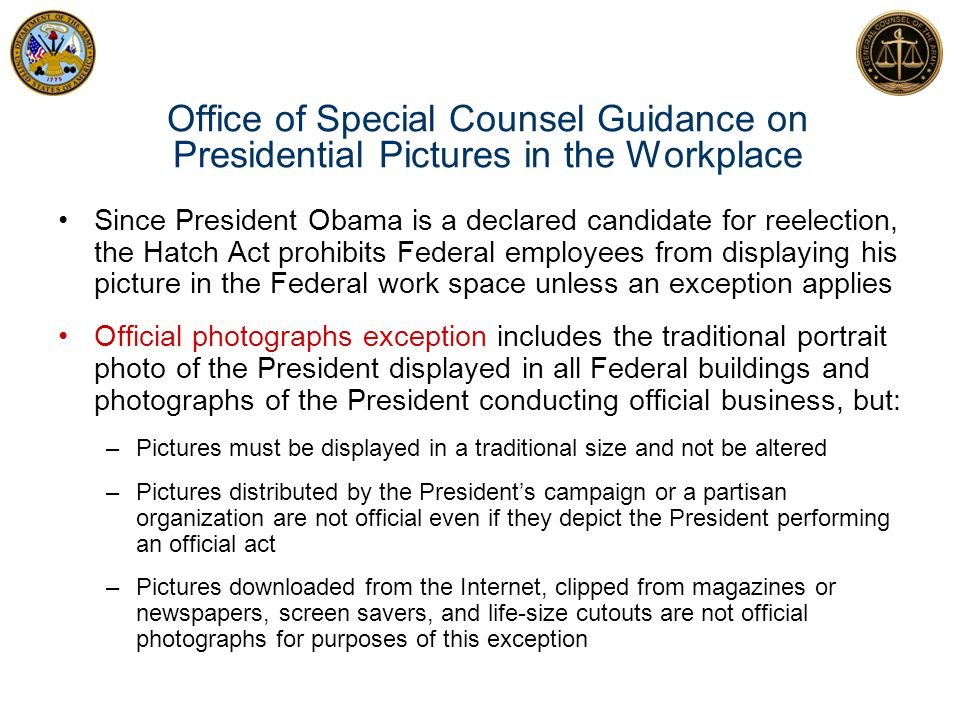 Office of Special Counsel Guidance on Presidential Pictures in the Workplace