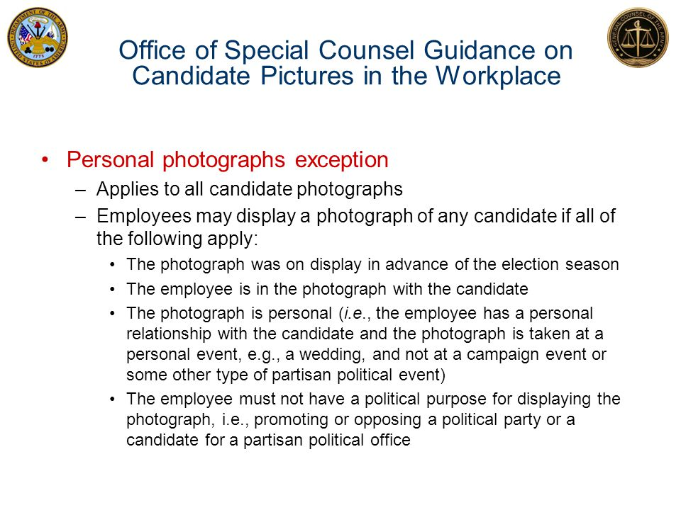 Office of Special Counsel Guidance on Candidate Pictures in the Workplace