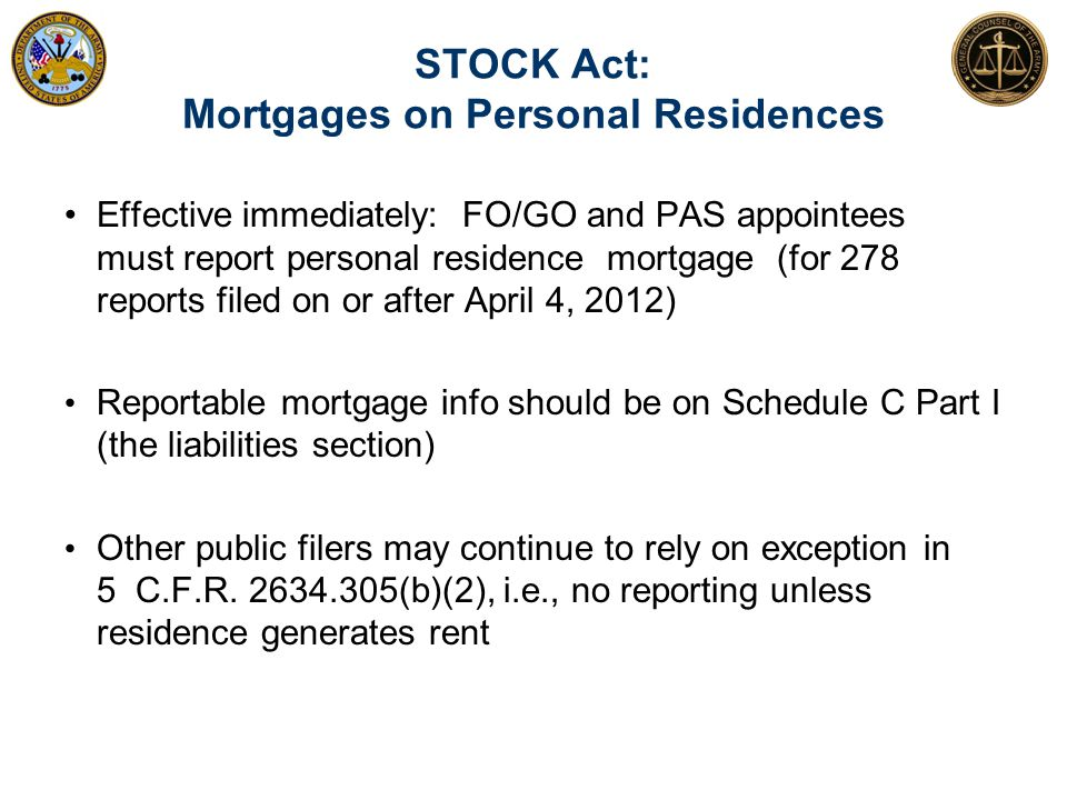 STOCK Act: Mortgages on Personal Residences