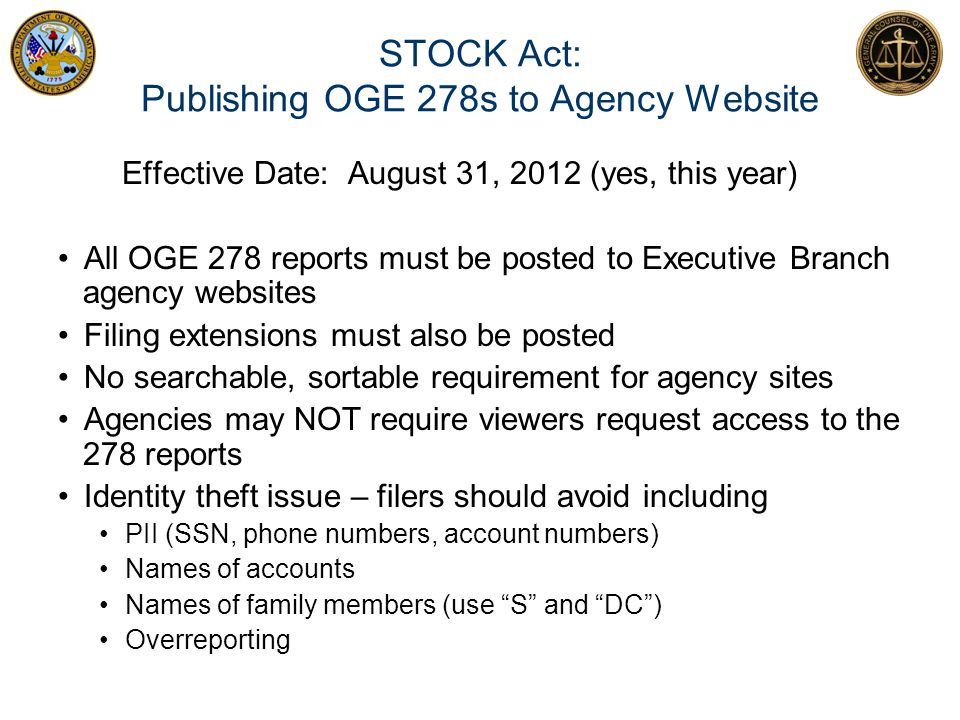 STOCK Act: Publishing OGE 278s to Agency Website