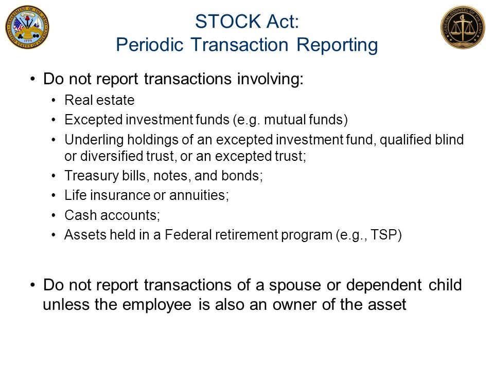 STOCK Act: Periodic Transaction Reporting