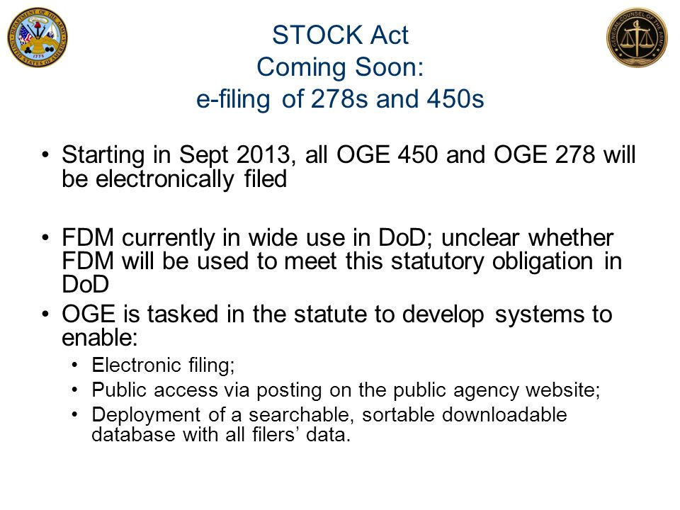 STOCK Act Coming Soon: e-filing of 278s and 450s