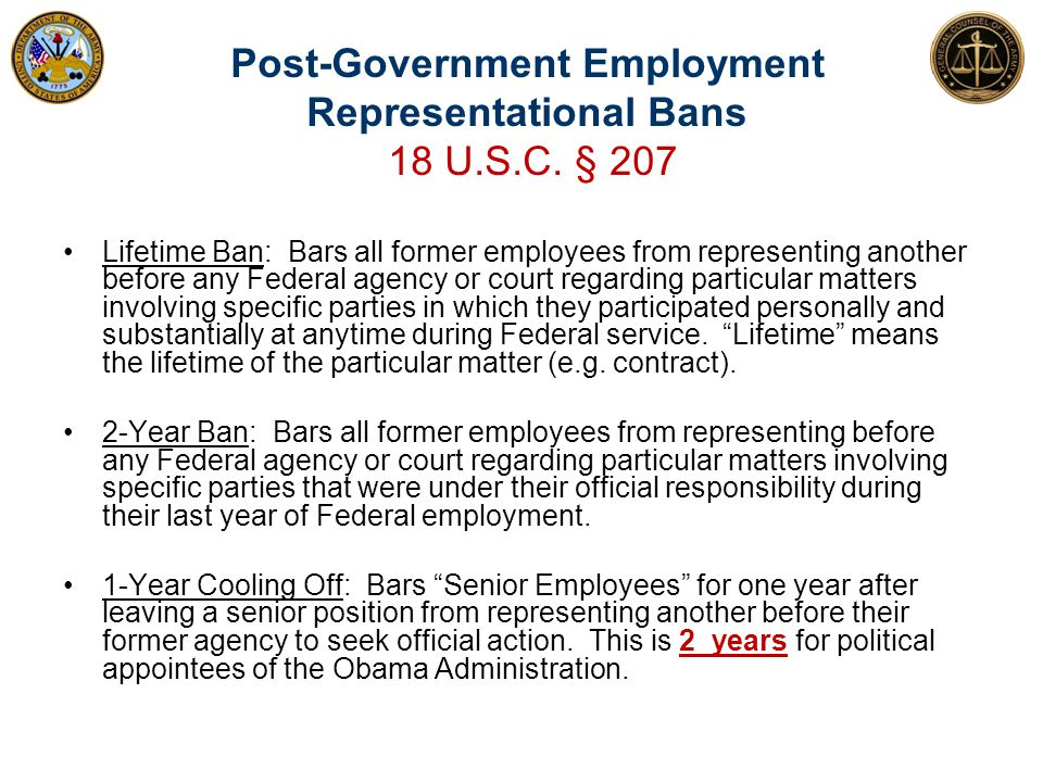 Post-Government Employment Representational Bans 18 U.S.C. § 207