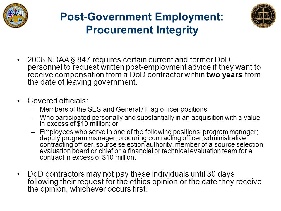 Post-Government Employment: Procurement Integrity