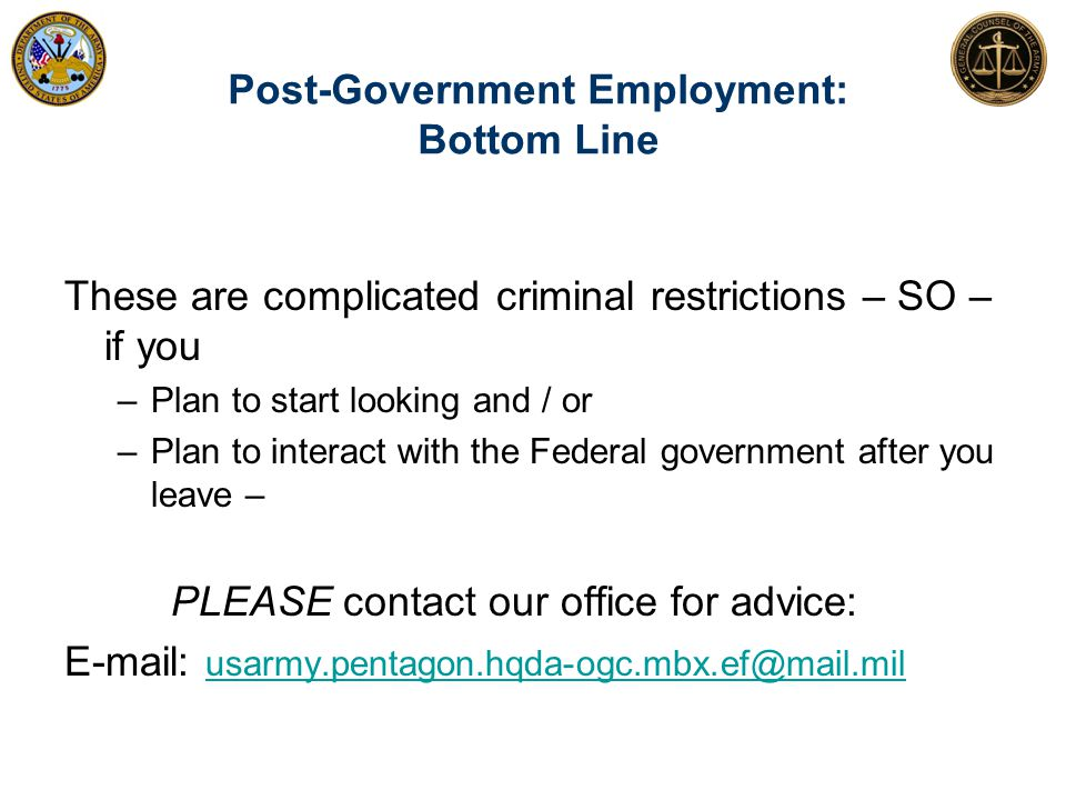 Post-Government Employment: Bottom Line